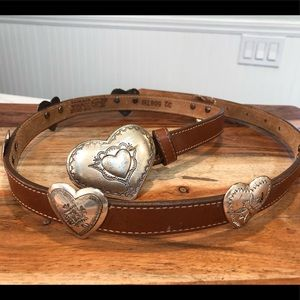 Justin vintage cowhide belt with silver hearts